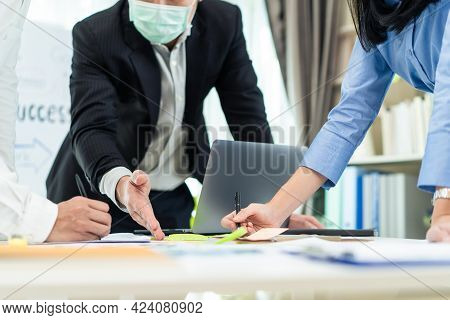 Group Of Business Employee People Meeting In Office. Man And Woman Wear Mask Due To Covid19, Brainst