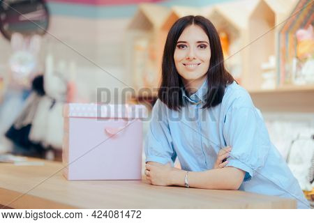 Smiling Saleswoman At The Counter In A Store