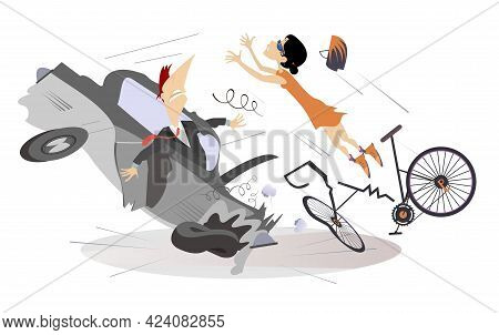 Road Accident, Driver, Cyclist And Broken Bike Illustration. Shocked Driver Man Sits In The Broken C