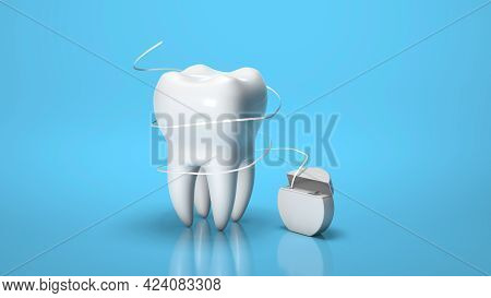 Dental Floss. Flossing Your Teeth. Tooth And Dental Floss On A Blue Background. 3d Render