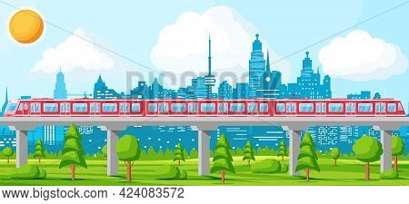 Skytrain And Landscape With Cityscape. Super Streamlined Train. Passenger Express Railway Locomotive