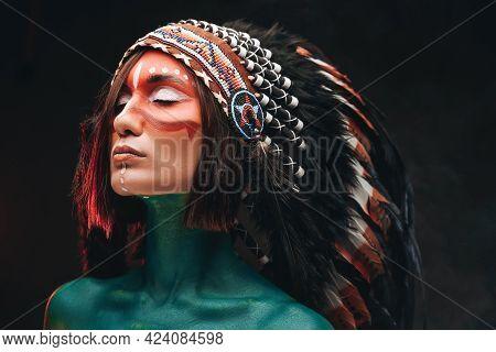 Dreamy Woman With Makeup Wearing Indian Headwear