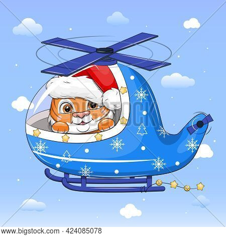 Cute Cartoon Tiger In Santa Hat Flying In Blue Helicopter. New Year Vector Illustration On A Blue Ba