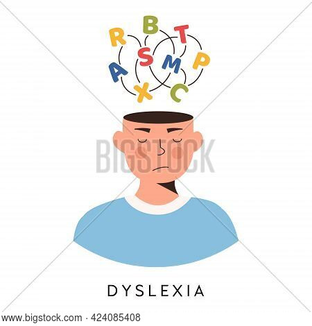 Dyslexia Concept. Young Boy Having Learning Difficulty. Messed Letters, Confused Head. Logopedy, Spe