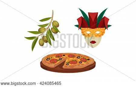 Italy Country Symbols With Venice Masquerade Mask And Branch Of Olives Vector Set
