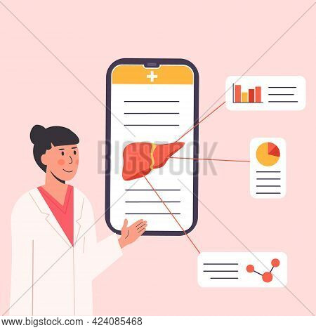 Concept Of Consulting Doctor Online On Mobile Phone. An App Explaining Liver Human Organ. Female Res