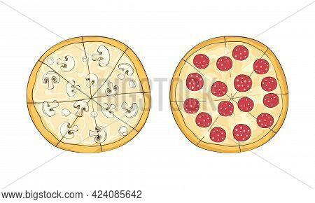 Traditional Italian Pizza Of Round Shape With Salami And Mushrooms Above View Vector Set