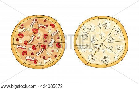 Traditional Italian Pizza Of Round Shape With Bacon And Mushrooms Above View Vector Set