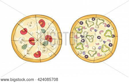 Traditional Italian Pizza Of Round Shape With Seafood And Mushrooms Above View Vector Set