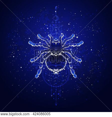 Vector Illustration With Hand Drawn Spider Tarantula And Sacred Geometric Symbol Against The Starry