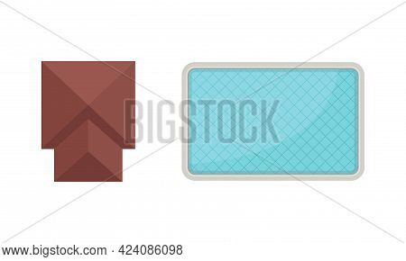 Landscape And Garden Design Elements With Pavilion And Pool Above View Vector Set