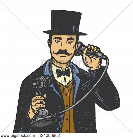 Gentleman With Old Fashioned Phone Line Art Sketch Engraving Vector Illustration. T-shirt Apparel Pr