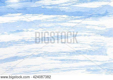 Watercolor Illustration Of Cirrocumulus Undulatus Sky In Light Blue Tones.