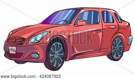 Vector Illustration Of A Red Car Hatchback On A White Background