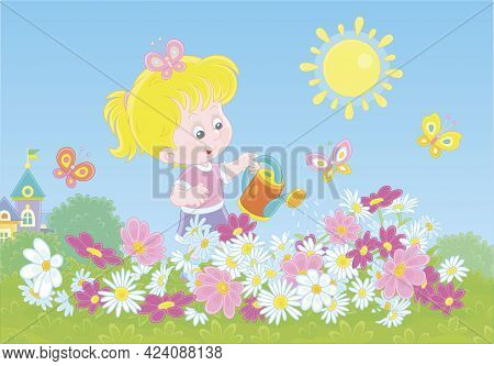 Happy Little Girl Watering Colorful Garden Flowers On A Pretty Small Flowerbed On A Sunny Summer Day