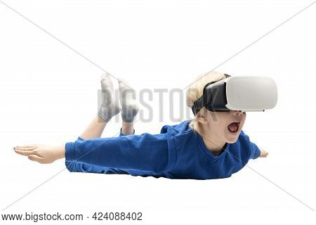 Frightened Little Boy In Virtual Reality Glasses Falls From Height. White Background. Video Games Co