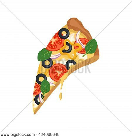 A Slice Of Pizza With Melted Dripping Cheese, Tomatoes, Olives And Basil. Bright, Delicious Italian