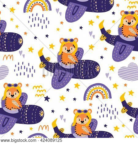 A Red Tiger Is Flying In A Helicopter. Seamless Pattern With A Helicopter, Tigers, Clouds, Stars For