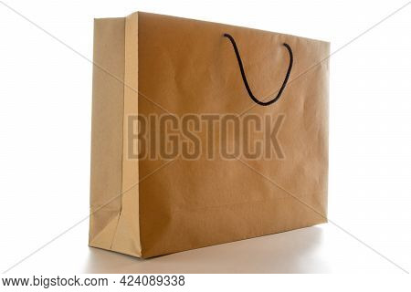 Old Paper Bag. Brown Package With Kraft Recycle Texture, Empty Blank Space For Design Mockup Isolate