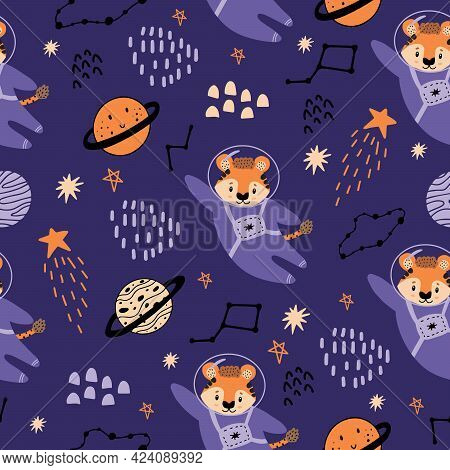 A Red Tiger In A Space Suit And Space Suit Flies To The Stars. Seamless Pattern With Planets, Tigers