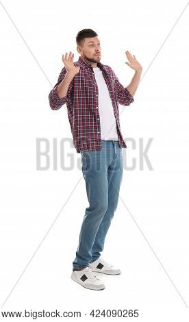 Emotional Man Avoiding Something On White Background