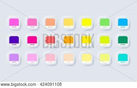 Neon Colour Palette. Vector. Catalog Samples Neon In Rgb Hex. Color Catalog. Neumorphic Ui Ux White