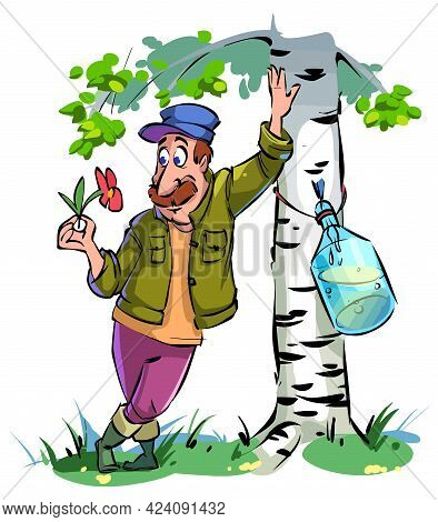 Cartoon Romantic Peasant Admires A Flower And Collects Birch Sap. Vector Illustration.