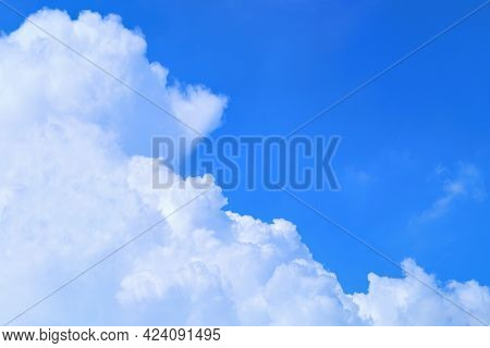 High Up Angle View Of Blue Sky And Partly Cloudy In Daylight On Summer Season, Sky And Cloud Backgro