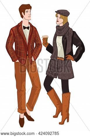 Trendy Man And Woman, English Fashion And Style