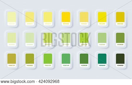 Yellow And Green Pastel Colour Palette. Vector. Catalog Samples Green And Yellow In Rgb Hex. Color C