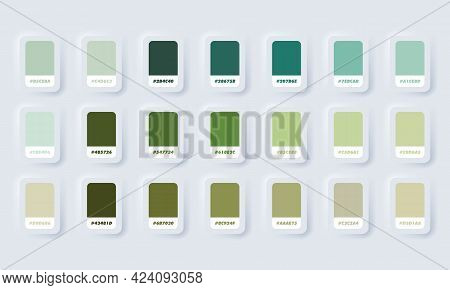 Green Pastel Colour Palette. Vector. Catalog Samples Green In Rgb Hex. Color Catalog. Neumorphic Ui