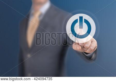 Man Press Start. Businessman Pressing Power Button Concept. Start Up Business Concept. Business, Tec