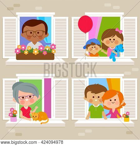 People In Their Homes At An Apartment Building Looking Out Of Windows. Vector Illustration