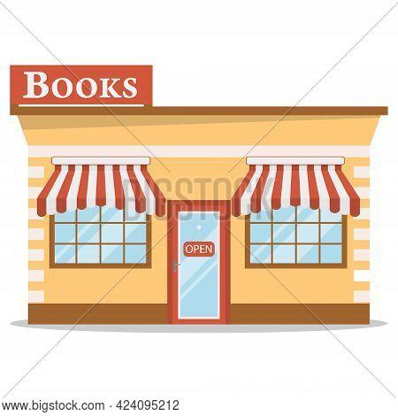 Bookstore Facade Book Stores. Vector, Cartoon Illustration. Vector.