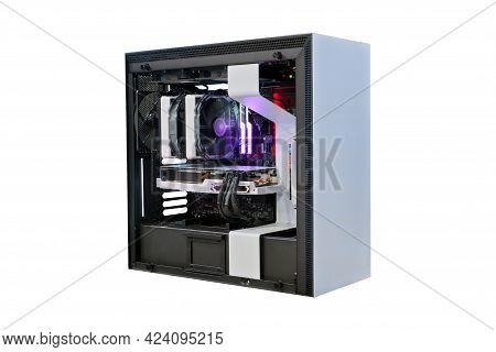 Open Desktop Computer Pc On Modify Cooling Version And Led Rgb Lighting Show Status On Working Mode