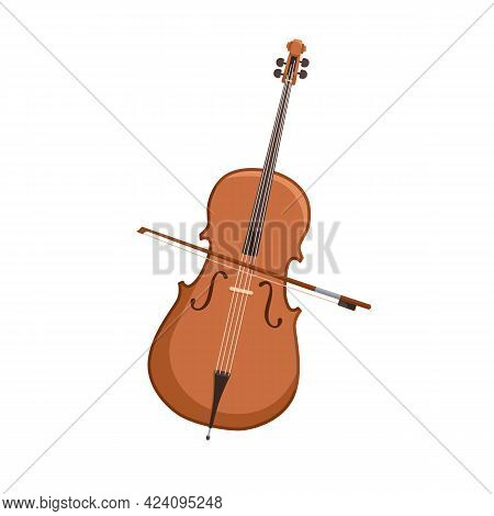 Cello And Bow. Orchestra String Music Instrument. Wooden Violoncello And Stick. Colored Flat Vector