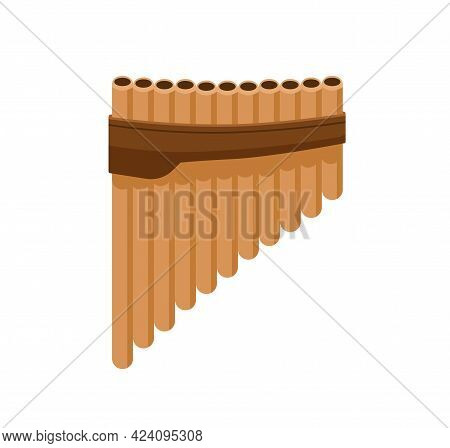 Bamboo Pan Flute From Bound Cylindrical Pipes. Wooden Panpipes. Folk Latin Music Instrument. Colored