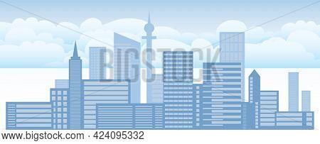 City Landscape, Urban Landscape. Vector, Cartoon Illustration. Vector.