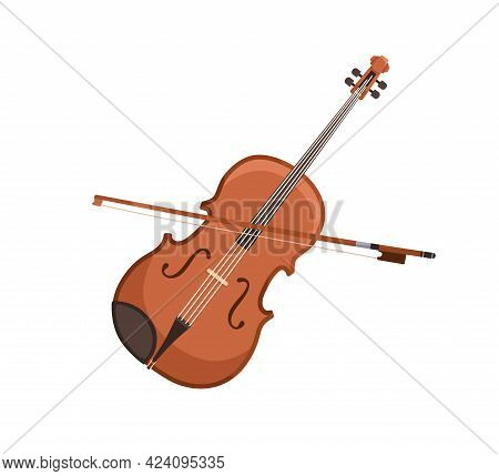 Classical Violin And Bow. Wooden Fiddle With Fiddlestick. Orchestra String Music Instrument. Colored