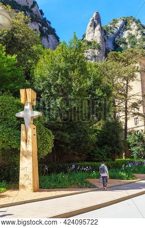 Montserrat, Spain - May 15, 2017: This Is The Modern Cross Of Saint Michael In The Territory Of The