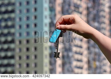 House Purchase, Woman Holding Keychain With Digital And Home Keys For Electronic Lock On Background