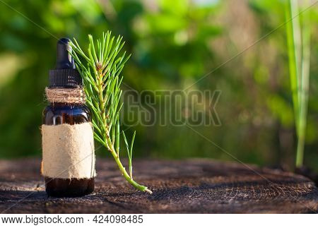 Natural Beard Oil, Brown Bottle. Cosmetic For Beard Or Aromatherapy In Glass Bottle. Empty Label - C
