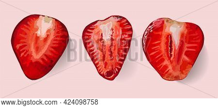 Strawberry Isolated. Strawberry Slices. Core. Red Ripe Berry. The Taste Of Summer. Elements For Desi