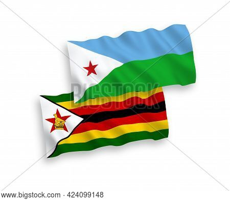 National Fabric Wave Flags Of Republic Of Djibouti And Zimbabwe Isolated On White Background. 1 To 2