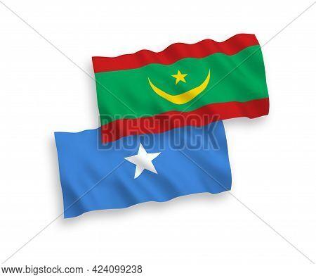 National Fabric Wave Flags Of Islamic Republic Of Mauritania And Somalia Isolated On White Backgroun