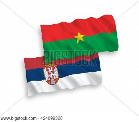 National Fabric Wave Flags Of Burkina Faso And Serbia Isolated On White Background. 1 To 2 Proportio