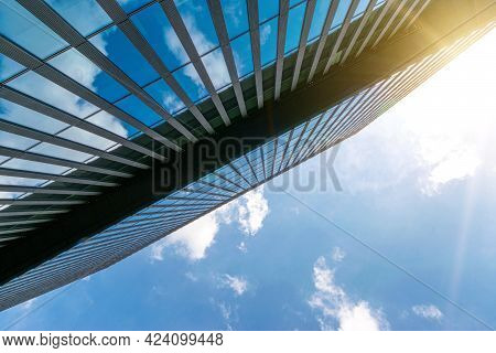 City Buildings Glass. Modern Office Business Building With Glass, Steel Facade Exterior. Finance Cor
