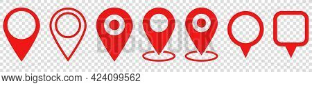 Set Of Red Map Pin Icons. Modern Map Markers. Location Pin Sign. Vector Icon Isolated On Transparent