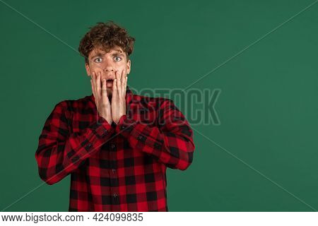 Wow. Beautiful Male Half-length Front Portrait Isolated On Studio Background. Young Emotional Surpri