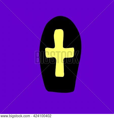 Grave, Tombstone, Tomb With A Cross In Flat Style. Vector Black Silhouette, Icon, Clipart Isolated O